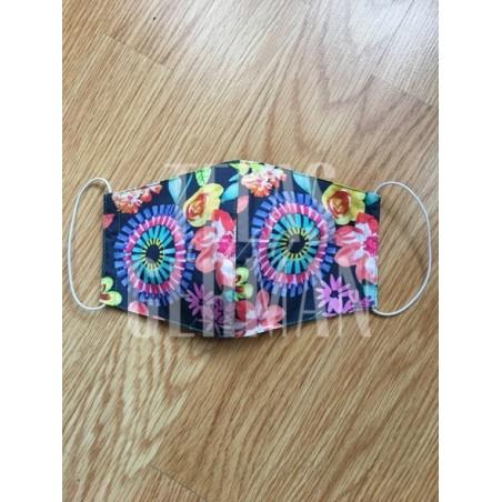 Mascarilla de algodón estampado multicolor, muy alegre y vistoso