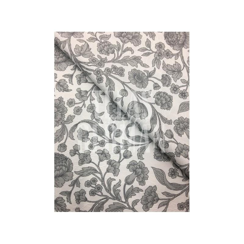 Pique labrado con flores y estampado con flores en dos tonos de gris