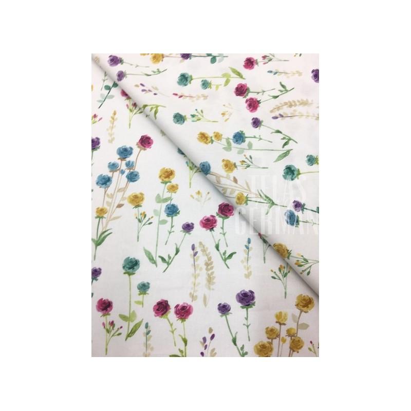 algodon Aixa ramitas de flores de colores