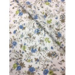 Algodon Aroa flora azul y pistacho