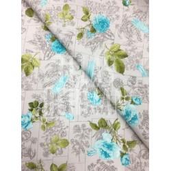 lino visón con flores en turquesa Larisa