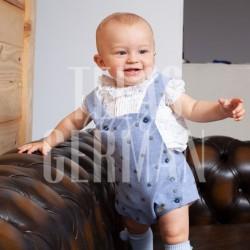 RANITA CON PETO DE FRANELA BORDADA Y CAMISA DE PLUMETI - T. 6 meses